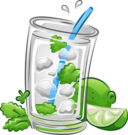 mojito: Illustration of a Mojito Drink with Lime and Mint Leaves