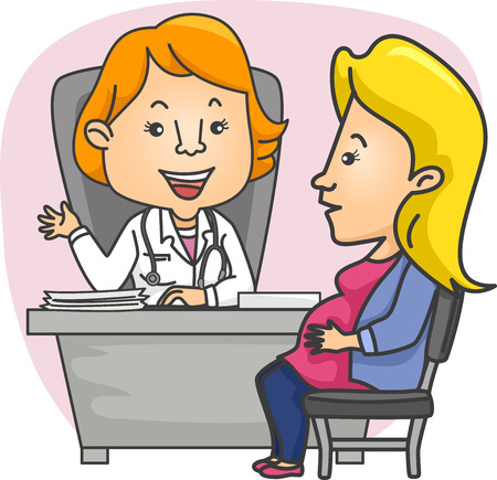 obgyn: Illustration of a Pregnant Girl consulting with her Ob-Gyn