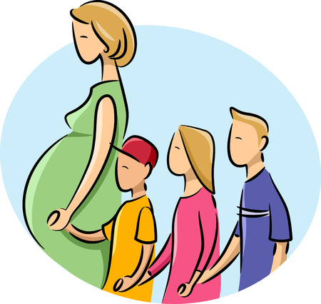 birth control: Illustration of a Pregnant Girl with her three kids