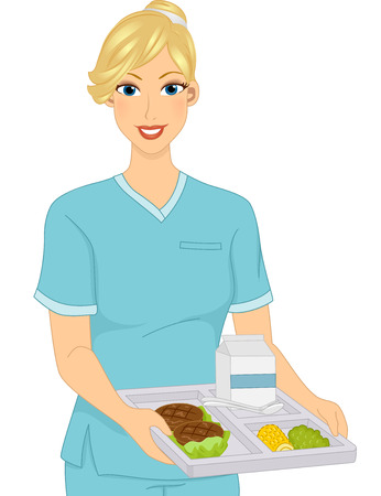 Illustration of a Girl Dietician holding Food Tray
