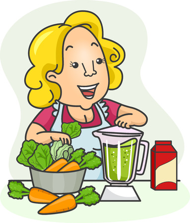 blending: Illustration of a Girl blending Vegetables for her Green Smoothies