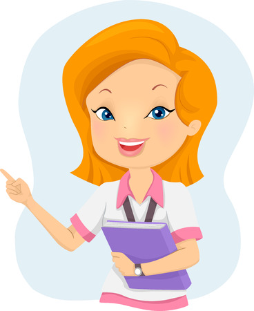 tertiary: Illustration of a Girl Student holding a Book while pointing at something