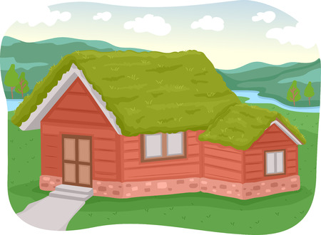 sod: Illustration of a House with a Green Roof Made of Sod