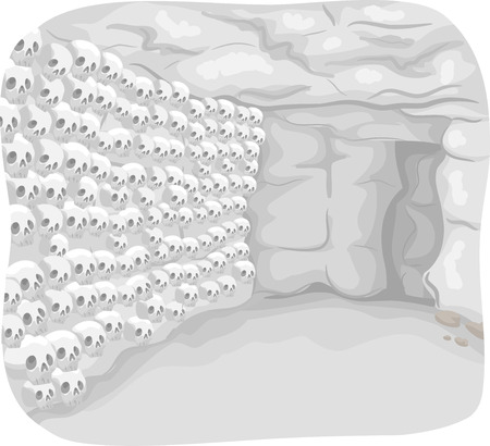 catacomb: Illustration of a Catacomb with Skulls Lined Up in the Wall Stock Photo