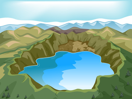 crater: Illustration of a Crater Lake Inside a Volcano