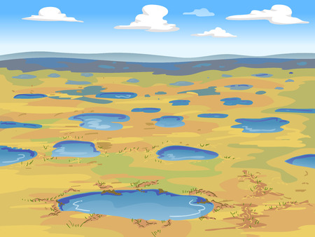 barren: Illustration of a Wide Expanse of Tundra with Small Pools of Water Stock Photo