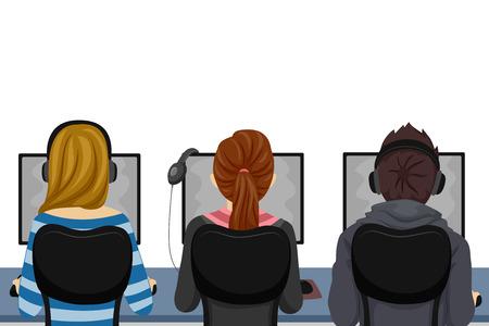 컴퓨터 실험실에서 컴퓨터를 사용하는 십 대 학생의 그림