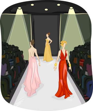 fashion week: Illustration of Three Girls Modeling Long Gowns walking on a Runway