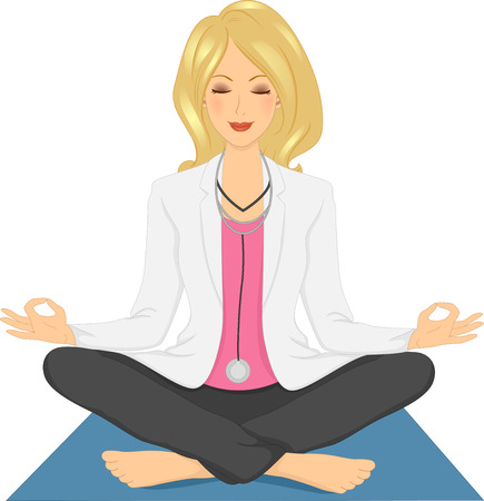 comfortable: Illustration of a Girl Doctor in a comfortable Sitting Yoga Pose
