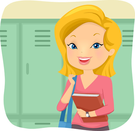 Illustration of a Girl Student with her Bag and Holding a Book in front of the Lockers