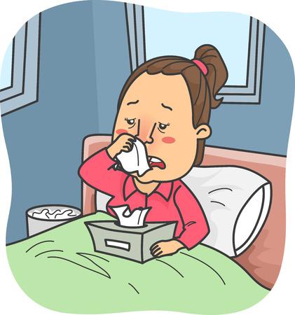 Ilustración de una niña en la cama con gripe la celebración de una caja de pañuelos