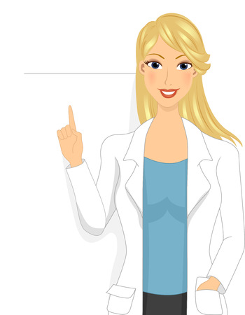 Illustration of a Girl Doctor pointing to a blank board behind her