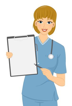 Illustratie van een meisje in scrubs wijst naar een lege Klembord
