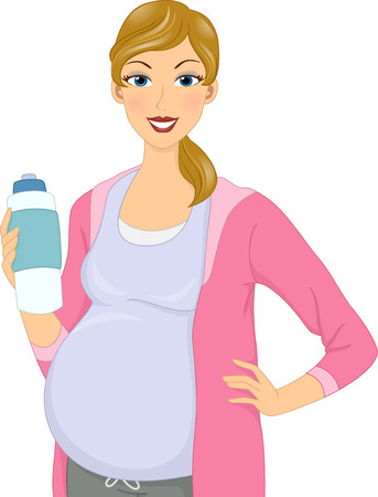 parents and baby: Illustration of a Pregnant Girl holding water bottle