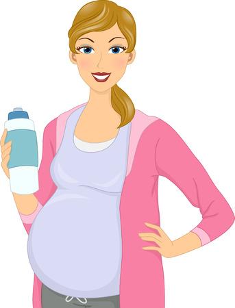 teteros: Ilustraci�n de una botella de agua Chica embarazada sosteniendo Foto de archivo