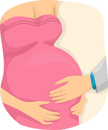obstetrician: Illustration of a Pregnant Girl with a Doctor hands on her belly