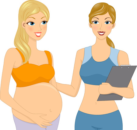 pregnancy exercise: Illustration of a Pregnant Girl with her Gym Coach