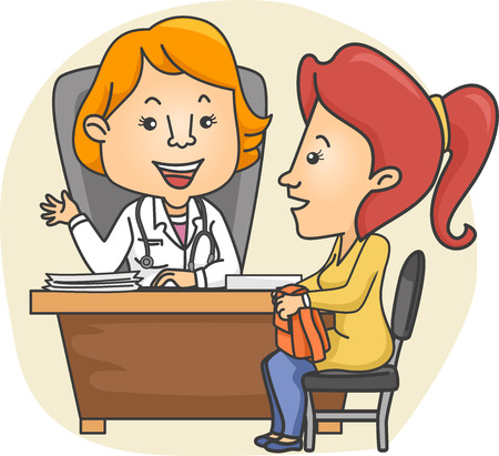 female doctor: Illustration of a Girl consulting with a Female Doctor