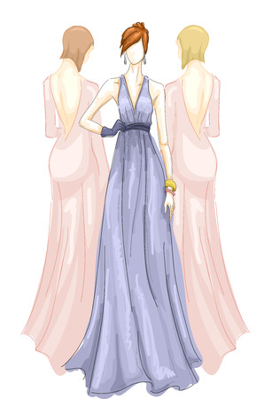 modeling: Illustration of Three Girls Modeling Long Gowns