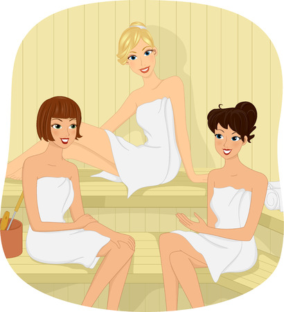 steam bath: Illustration of Three Girls sitting in a Sauna