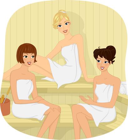 Illustration de trois jeunes filles assis dans un sauna