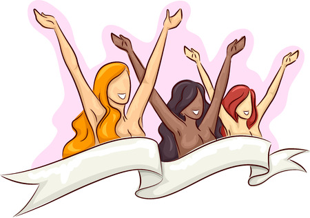 naked women: Illustration of Naked Women with Their Arms Raised