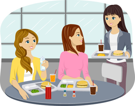 cafeteria: Illustration of Teenage Girls Eating at a Cafeteria Stock Photo
