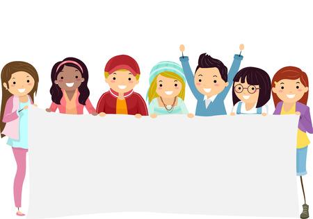 bonhomme allumette: Illustration des étudiants titulaires d'un adolescent de bannière blanc