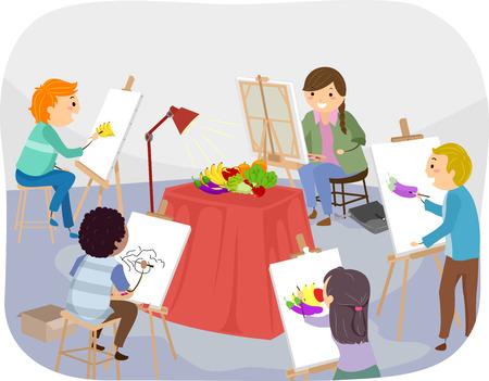 fine arts: Illustration of Teens Painting Fruits Inside a Studio