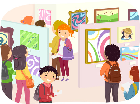 fine arts: Illustration of Teenagers Checking Out Paintings in an Art Exhibit