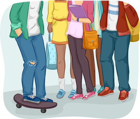 cropped: Cropped Illustration of Teenage Students Gathering Together