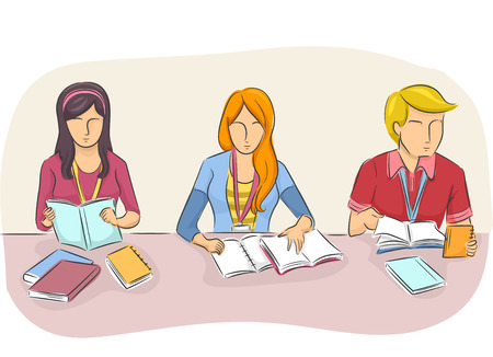 tertiary: Illustration of College Students Studying Side by Side