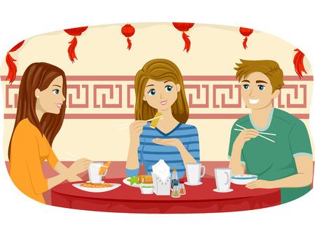 hombre comiendo: Ilustración de amigos adolescentes Comer en un restaurante chino