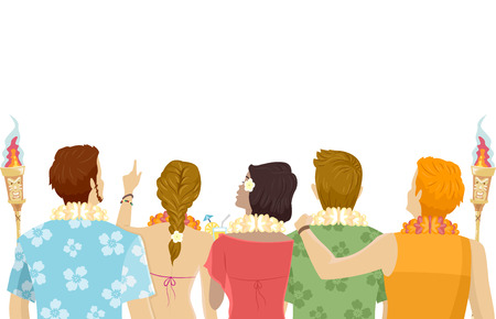 rear view girl: Back View Illustration of Teens Wearing Hawaiian-Themed Outfits