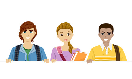 tertiary: Illustration of Teenage Students Holding a Blank Board
