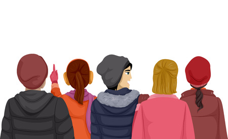 back view man: Back View Illustration of Teenagers Wearing Winter Clothes Stock Photo