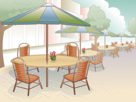 outdoor dining: Illustration of a Restaurant That Offers Al Fresco Dining