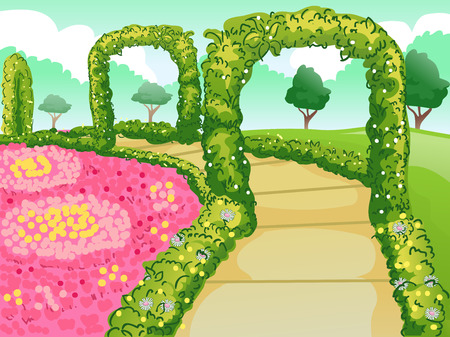 garden path: Illustration of a Botanical Garden with a Path Lined with Flowers and Hedges Stock Photo
