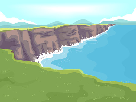 limestone: Illustration of a Long Stretch of Limestone Cliff by the Sea Stock Photo
