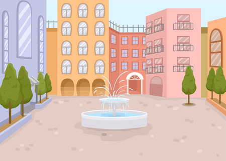 the courtyard: Illustration of a Courtyard with a Mini Fountain in the Middle Stock Photo