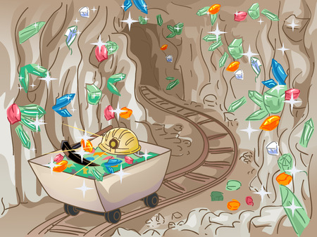 underground: Illustration of an Underground Mine Tunnel with Crystals Protruding from the Walls
