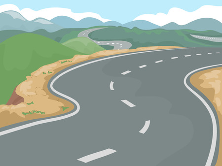 clusters: Illustration of a Long Stretch of Highway Beside Clusters of Hills