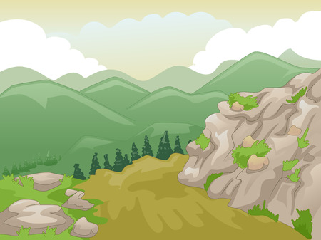 rural scene: Scenic Illustration of Mountain Peaks Framed by a Yellowish Sky