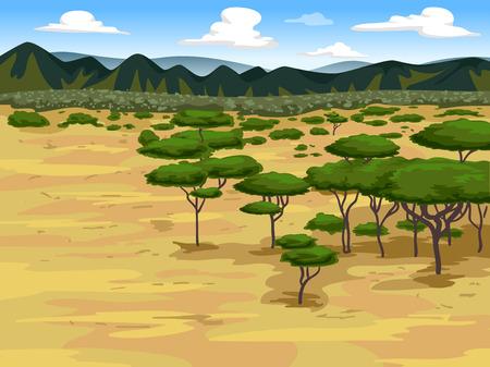 arid: Illustration of a Savanna with Trees All Around