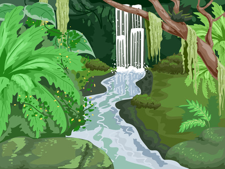 waterfall in forest: Illustration of a Tropical Forest with a Waterfall in the Middle Stock Photo