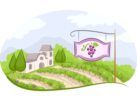 clip art wine: Illustration of a Vineyard Sign with a Wine Estate in the Background