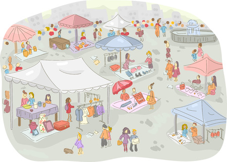 Illustration of a Flea Market Filled with People Out Shopping 스톡 콘텐츠