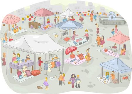 Illustrazione di un mercato delle pulci piena di gente a fare la spesa Archivio Fotografico - 40403177