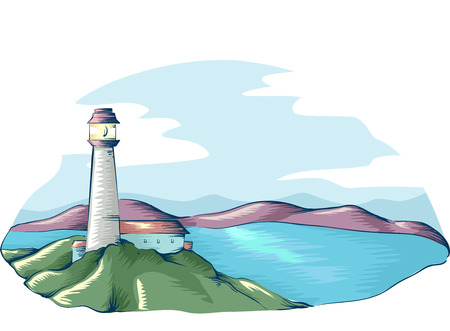 overlooking: Illustration of a Lighthouse Overlooking the Sea