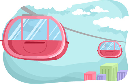 hovering: Illustration of a Pink Cable Car Hovering in the Middle of the Cable Railway Stock Photo